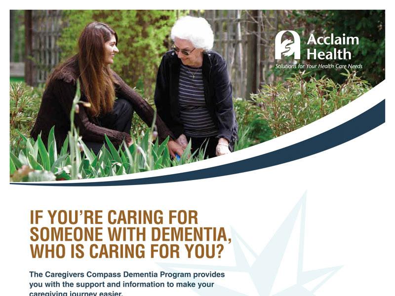 Acclaim Health Ad Design - Print branding at Bare Bones Marketing in Oakville, Ontario.