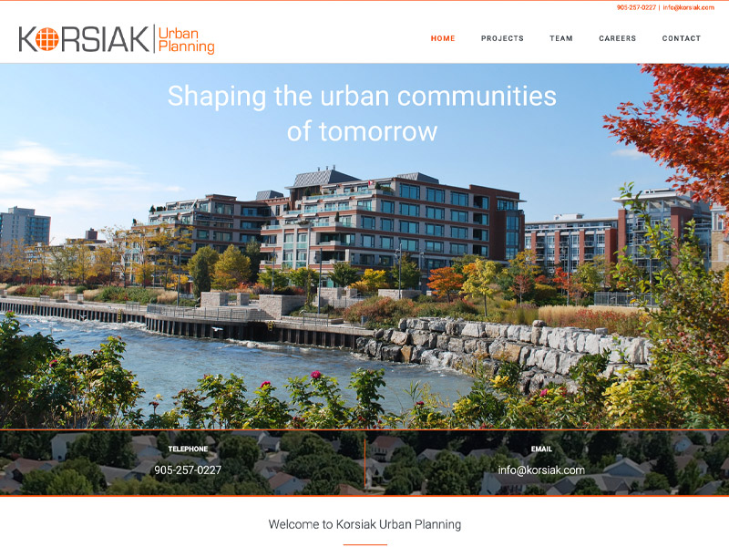 Korisak Urban Planning - Web Design with Bare Bones Marketing in Oakville, Ontario.