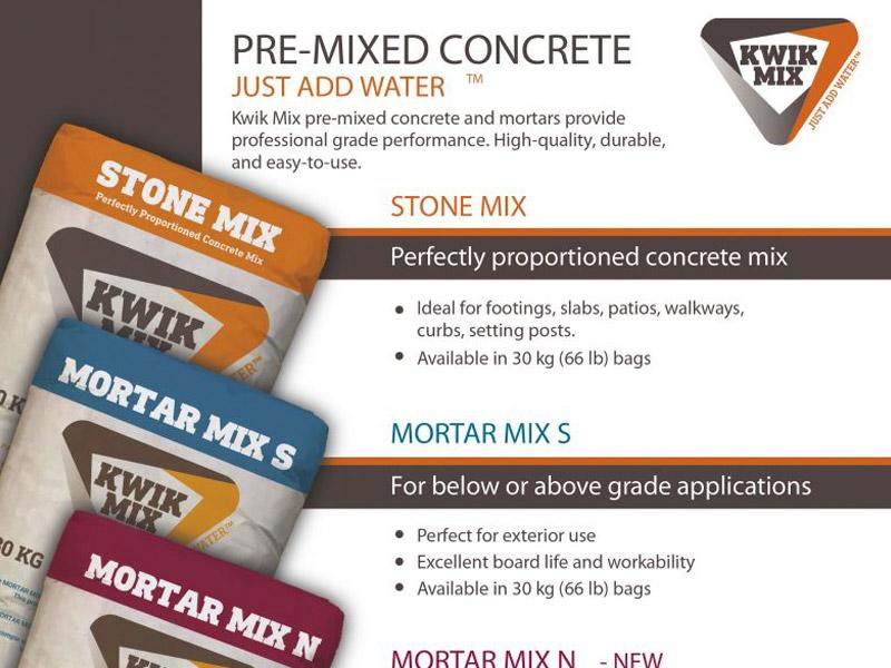 Kwik Mix Sell Sheet - Marketing Design, Bare Bones Marketing in Oakville, Ontario.