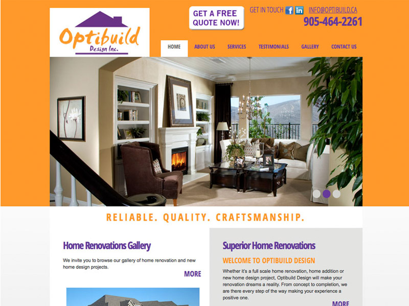 Optibuild Website - Web Design with Bare Bones Marketing in Oakville, Ontario.