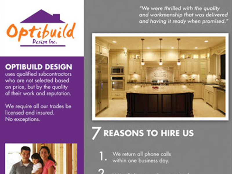 Optibuild Back Sell Sheet - Marketing Design, Bare Bones Marketing in Oakville, Ontario.