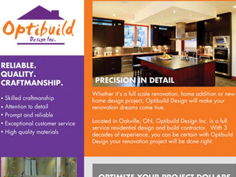 Optibuild Sell Sheet - Marketing Design, Bare Bones Marketing in Oakville, Ontario.