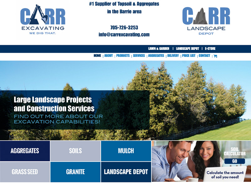 Carr Excavating Website - Web Design with Bare Bones Marketing in Oakville, Ontario.