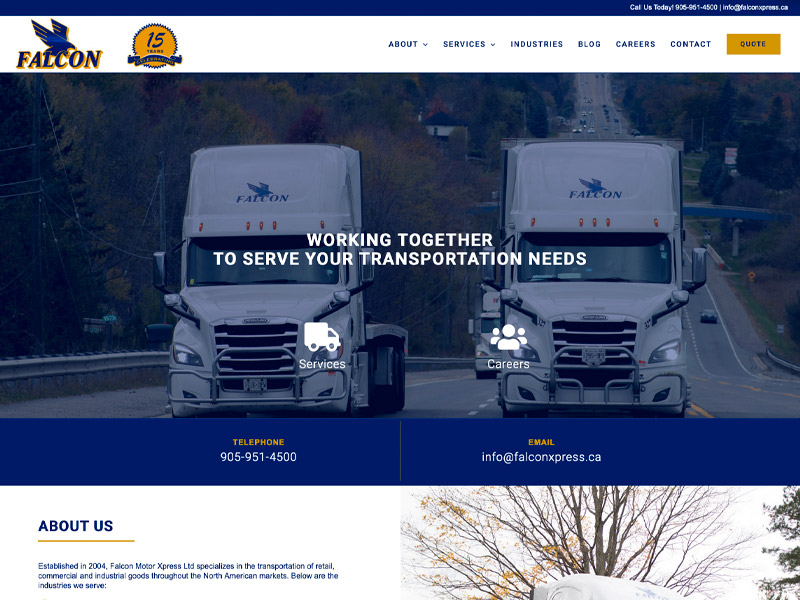 Falcon Xpress Development - Web Design with Bare Bones Marketing in Oakville, Ontario.