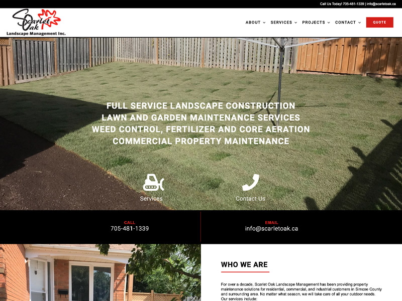 Scarlet Oak Development - Web Design with Bare Bones Marketing in Oakville, Ontario.