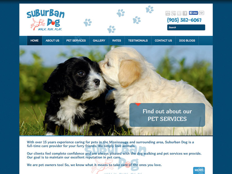 Suburban Dog Web Development - Web Design with Bare Bones Marketing in Oakville, Ontario.