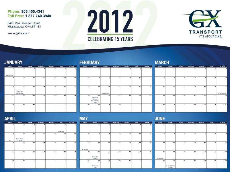 GX Calendar Design - Branding with Bare Bones Marketing in Oakville, Ontario.