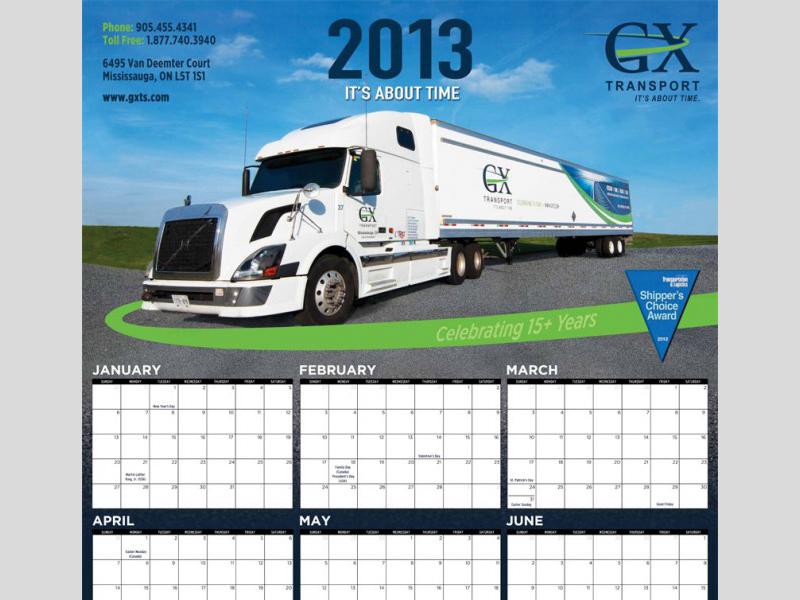Calendar Design 2013 - GX Transport with Bare Bones Marketing in Oakville, Ontario.
