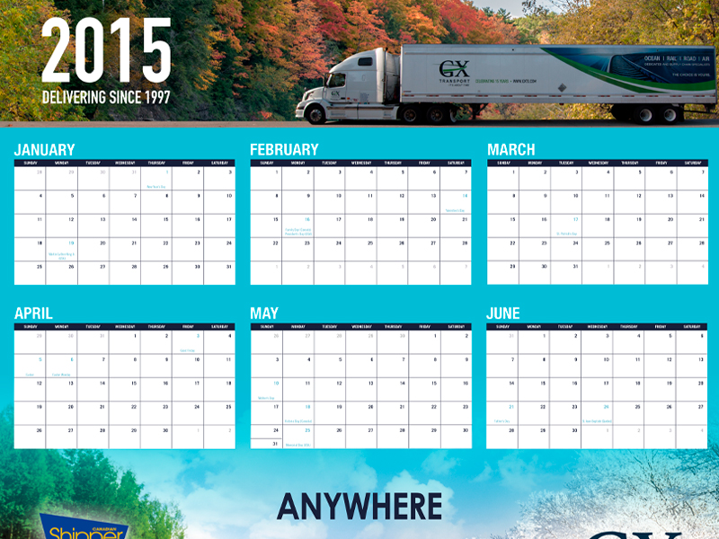 Calendar Design 2015 - GX Transport with Bare Bones Marketing in Oakville, Ontario.