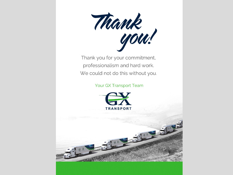 GX Transport Postcard - Back Design, branding with Bare Bones Marketing in Oakville, Ontario.