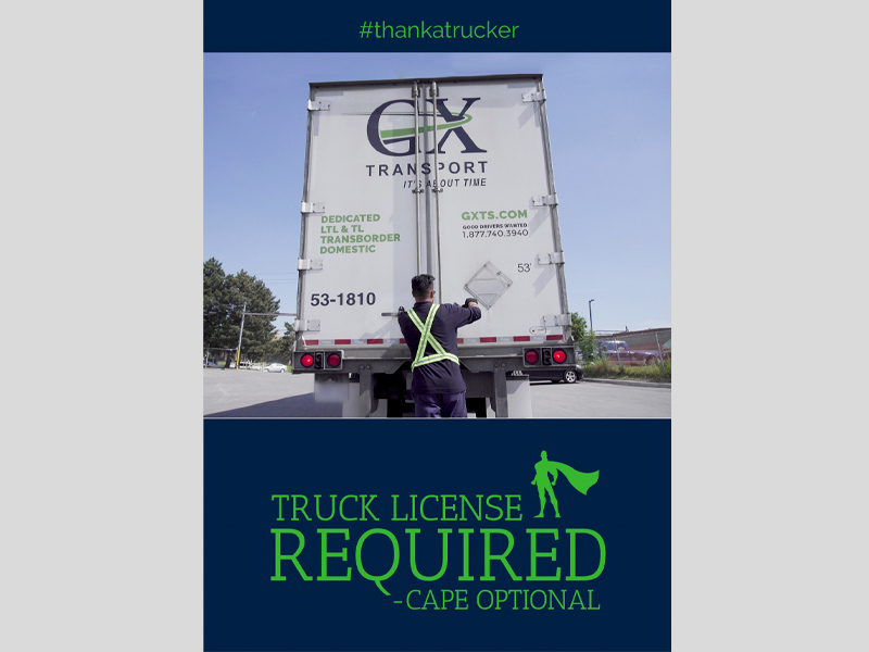 GX Transport Postcard - Front Design, branding with Bare Bones Marketing in Oakville, Ontario.