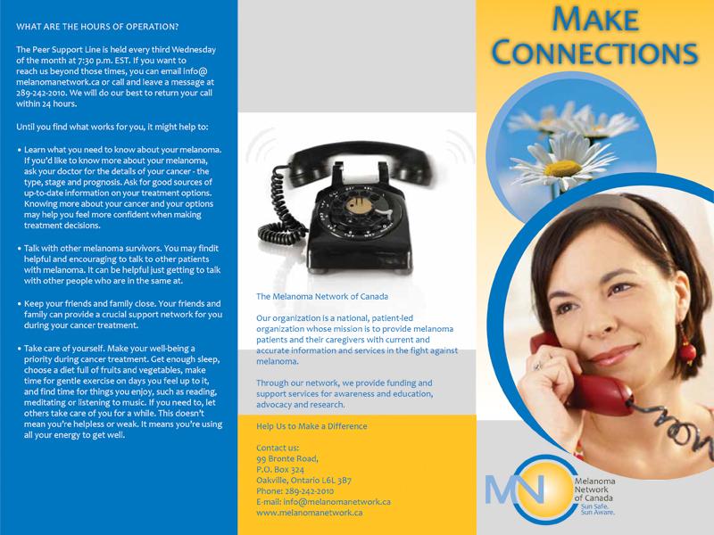 MNC Melanoma Make Connections - Brochure design with Bare Bones Marketing in Oakville, Ontario.