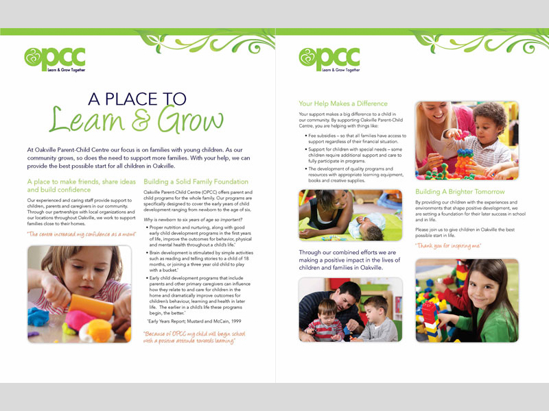 OPCC Learn and Grow - Brochure design with Bare Bones Marketing in Oakville, Ontario.