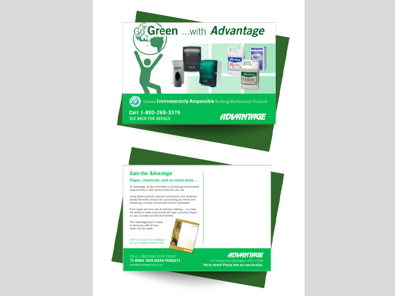 Advantage Go Green - Postcard design branding with Bare Bones Marketing in Oakville, Ontario