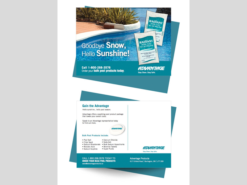 Advantage Pool Salt Postcard Design with Bare Bones Marketing in Oakville, Ontario.