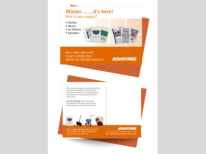 Advantage Winter - Postcard design branding with Bare Bones Marketing in Oakville, Ontario.