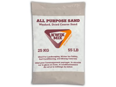 Kwik Mix All Purpose Sand Bag - Packaging Design with Bare Bones Marketing in Oakville, Ontario.