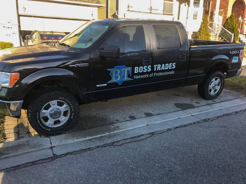 Boss Trades Network of Professionals - Vehicle Decal Design with Bare Bones Marketing in Oakville, Ontario.