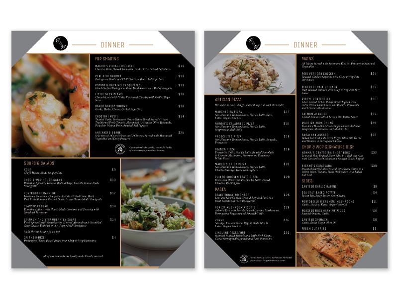 Dinner Menu Chop and Wop - Brochure design with Bare Bones Marketing in Oakville, Ontario.