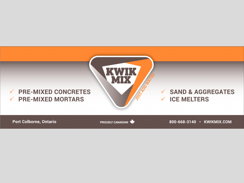 Banners & Signs - Kwik Mix Horizontal design, Bare Bones Marketing in Oakville, Ontario.