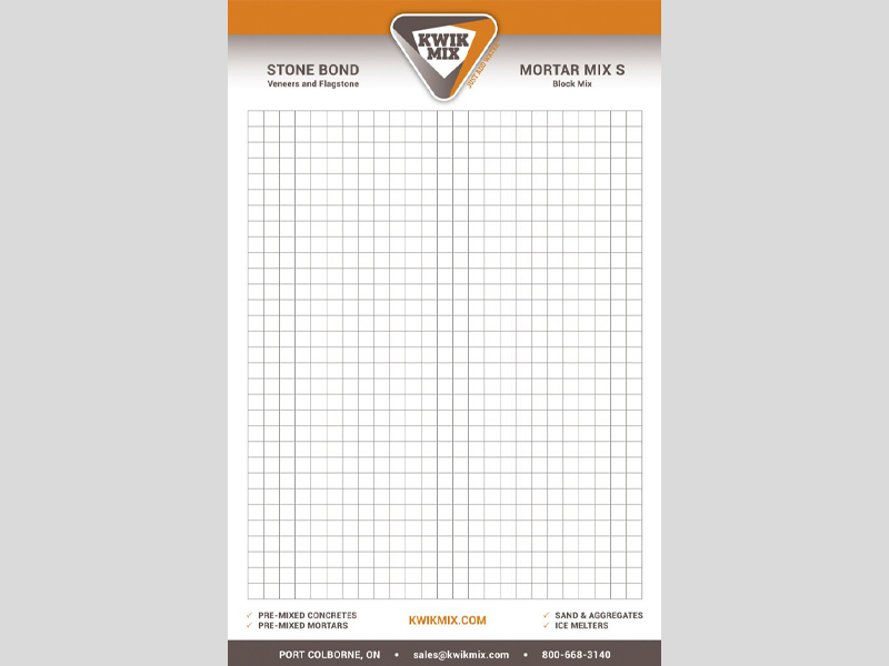 Kwik Mix Letterhead - Notepad products with Bare Bones Marketing in Oakville, Ontario.