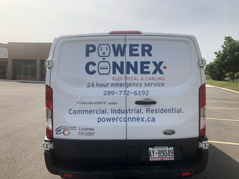 Power Connex rear view - Vehicle Decal Design with Bare Bones Marketing in Oakville, Ontario.