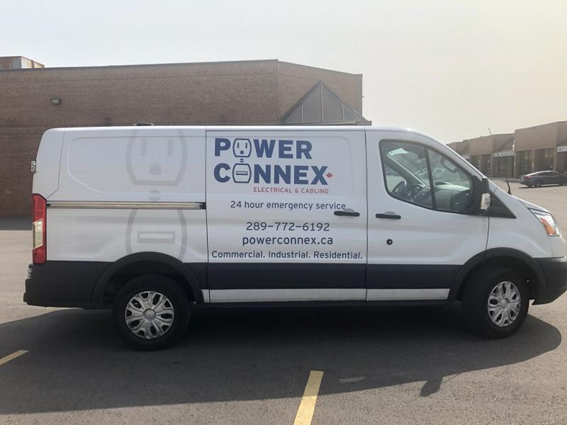 Power Connex passenger side - Vehicle Decal Design with Bare Bones Marketing in Oakville, Ontario.