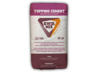 Kwik Mix Topping Cement - Packaging Design with Bare Bones Marketing in Oakville, Ontario.