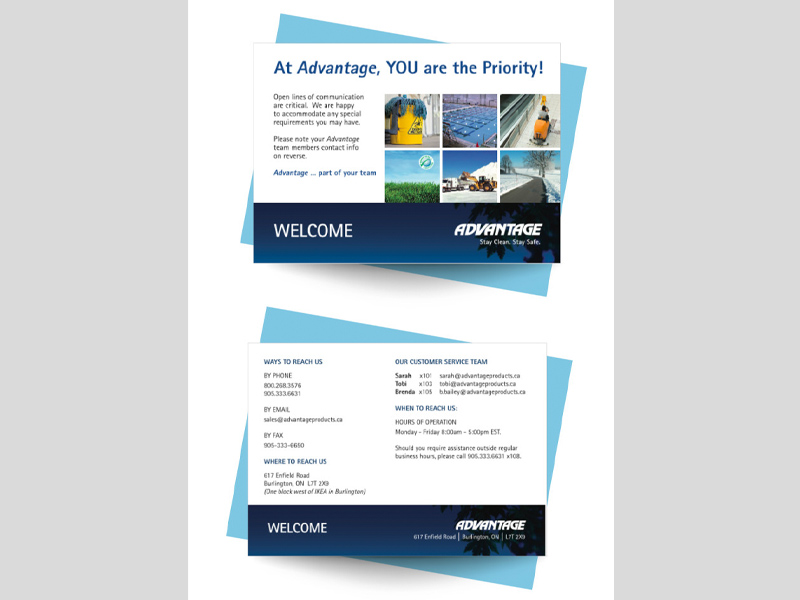 Welcome Advantage Postcard Design - branding with Bare Bones Marketing.