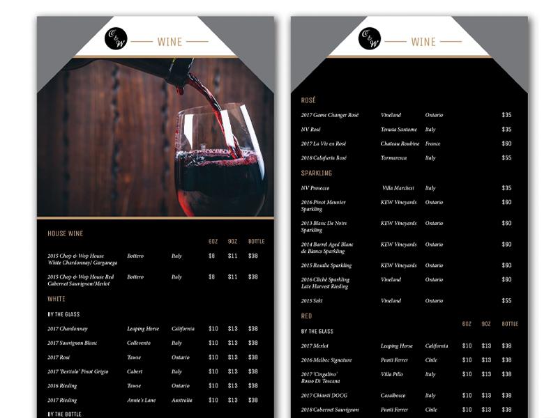 Wine List Chop and Wop - Brochure design with Bare Bones Marketing in Oakville, Ontario.