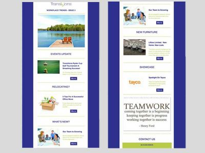 Transitions Workplace Trends - Email Marketing with Bare Bones Marketing in Oakville, Ontario.